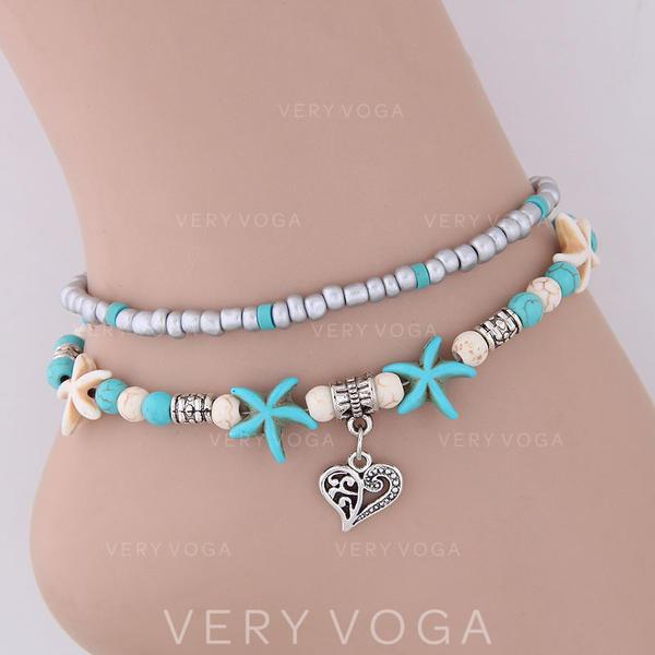 Coração deu forma Liga Imitação de turquesa Perline Mulheres (Vendido em uma única peça)