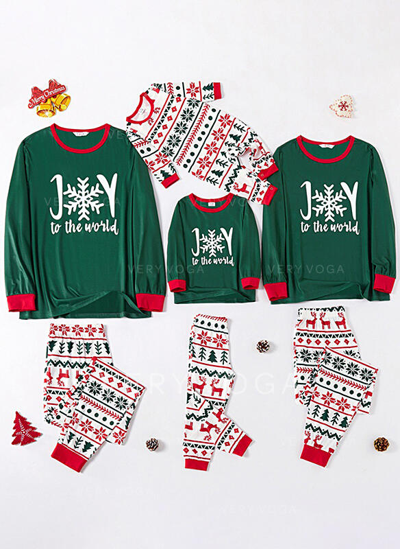 Rendier Letter Print Voor Gezinnen Kerst Pyjamas