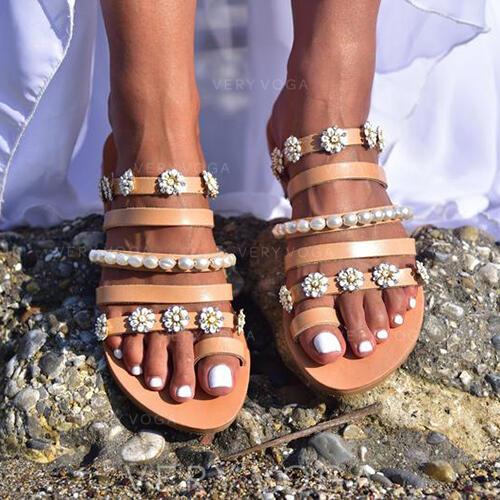 Femmes PU Talon plat Sandales Chaussures plates avec Perle d'imitation Une fleur chaussures