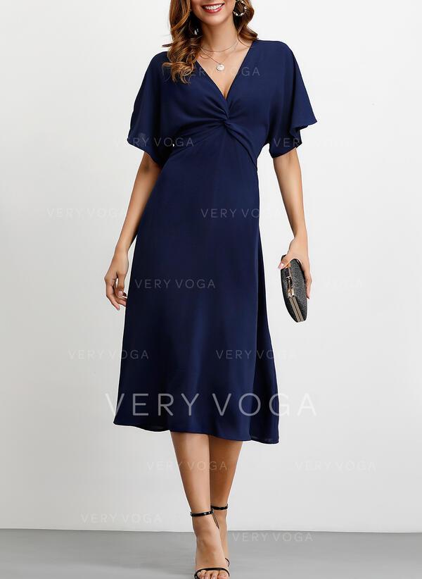 Jednolita Rękawy 1/2 W kształcie litery A Midi Przyjęcie Sukienki
