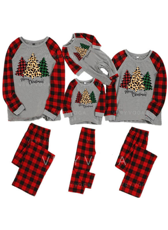チェック 文字 印刷 マッチングファミリー クリスマスパジャマ
