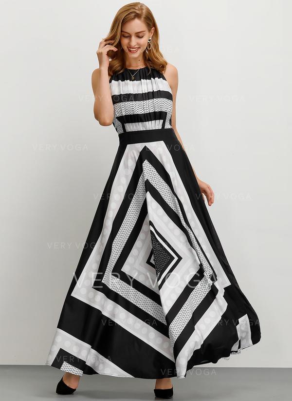 Print/Striped Sleeveless A-line Maxi Party Dresses