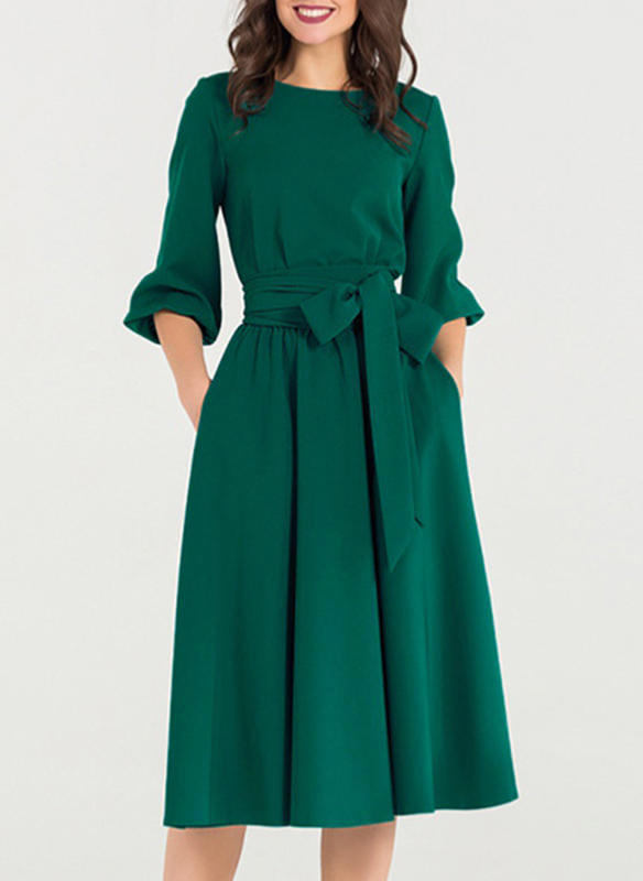 Solid 3/4 Sleeves A-line Knee Length Vintage/Casual Dresses