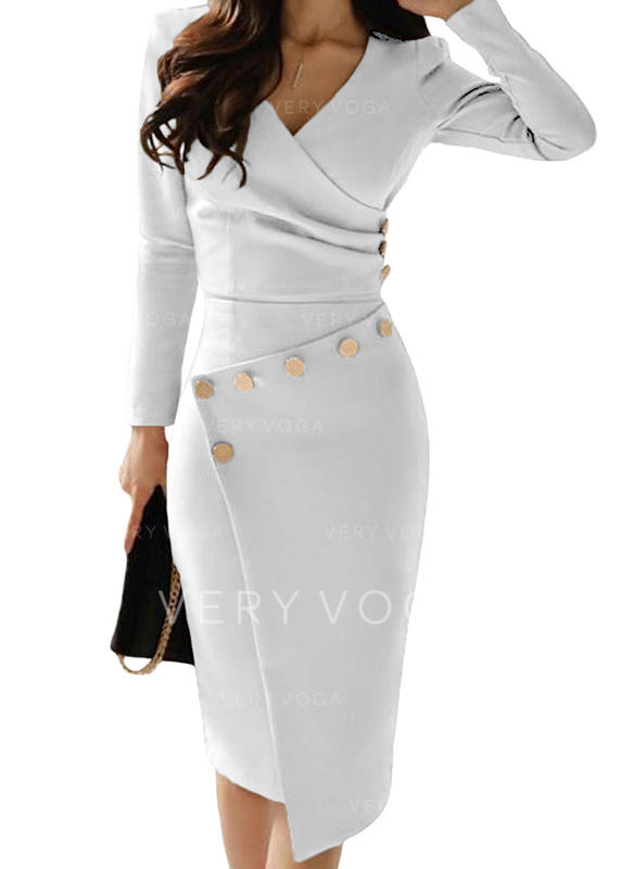 Solid Long Sleeves Bodycon Midi Casual/Elegant Dresses