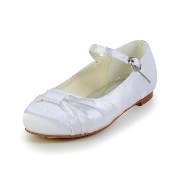 Kinder Satin Flascher Absatz Geschlossene Zehe Flache Schuhe mit Schnalle Geraffte