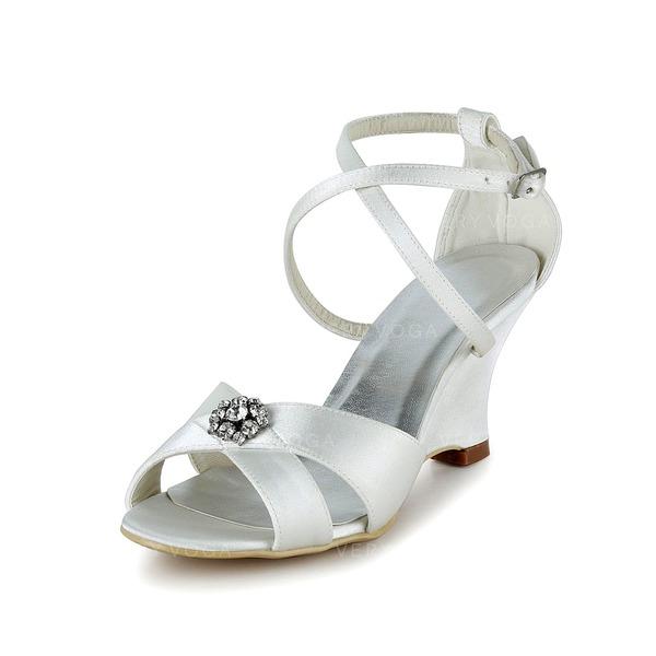 050d097c8ac Kvinnor Satäng Kilklack Peep Toe Sandaler med Paljetter (047037782 ...
