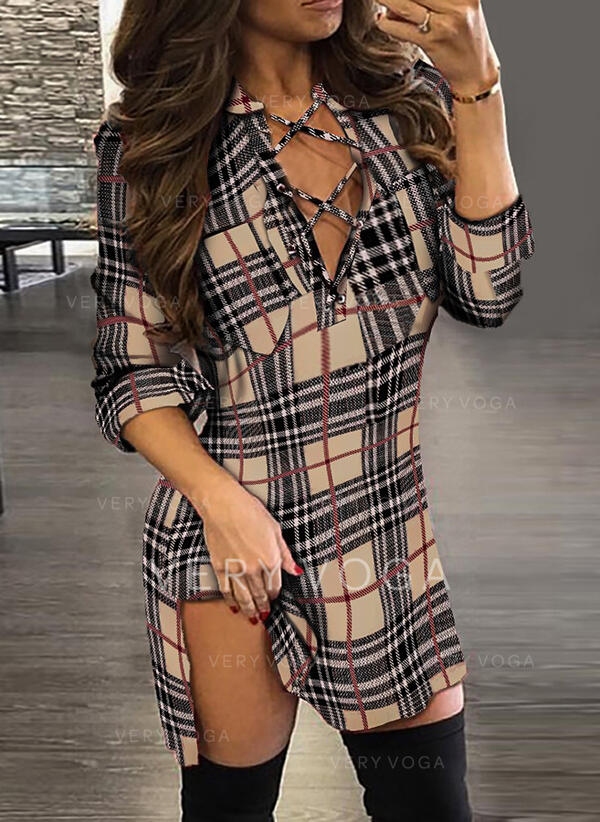 Plaid Long Sleeves Sheath Above Knee Sexy Dresses