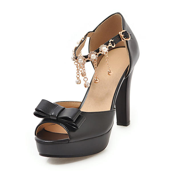 1b0ff249152 Women s Leatherette Chunky Heel Sandals Platform Peep Toe With Bowknot  Chain shoes