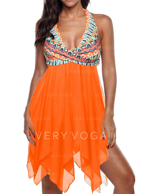Print Strap V-Neck Vintage Plus Size Boho Swimdresses Swimsuits