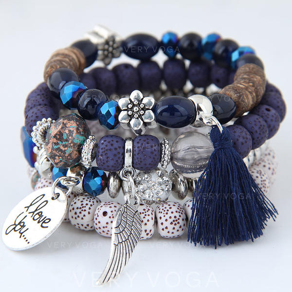 Wings Shaped Alloy Beads Unisex Fashion Bracelets (Set of 4)