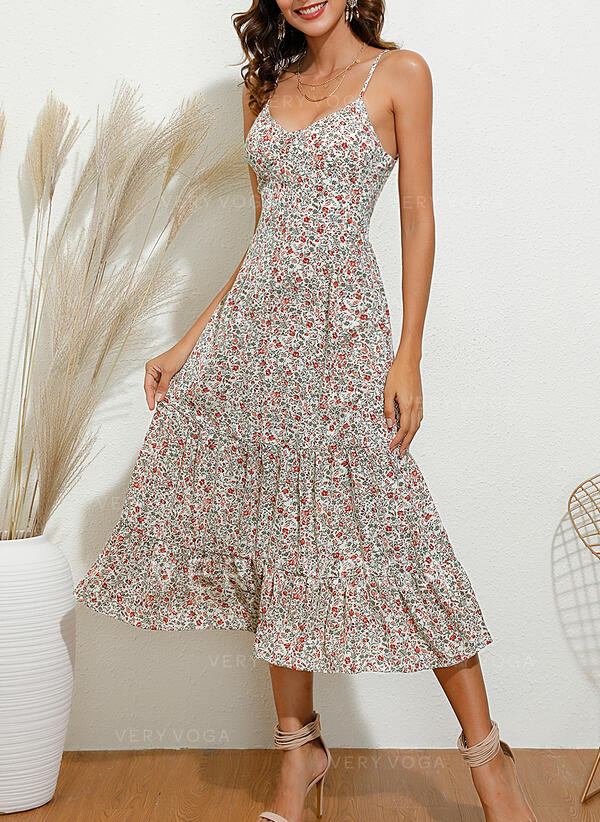 Print/Floral Sleeveless A-line Slip/Skater Casual/Vacation Midi Dresses