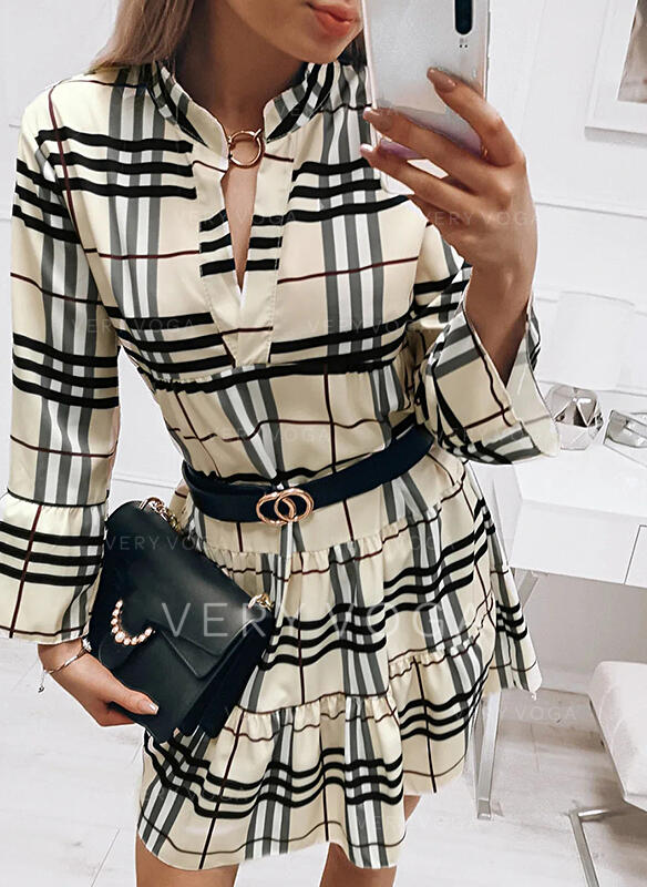 Plaid Long Sleeves/Flare Sleeves A-line Above Knee Casual Skater Dresses