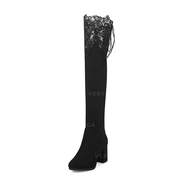 Women's Suede Chunky Heel Boots Over The Knee Boots Martin Boots With Stitching Lace Lace-up Elastic Band shoes