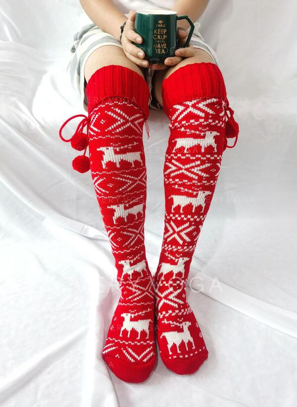 印刷/クリスマストナカイ 暖かいです/快適/婦人向け/クリスマス/ニーハイソックス ソックス/ストッキング