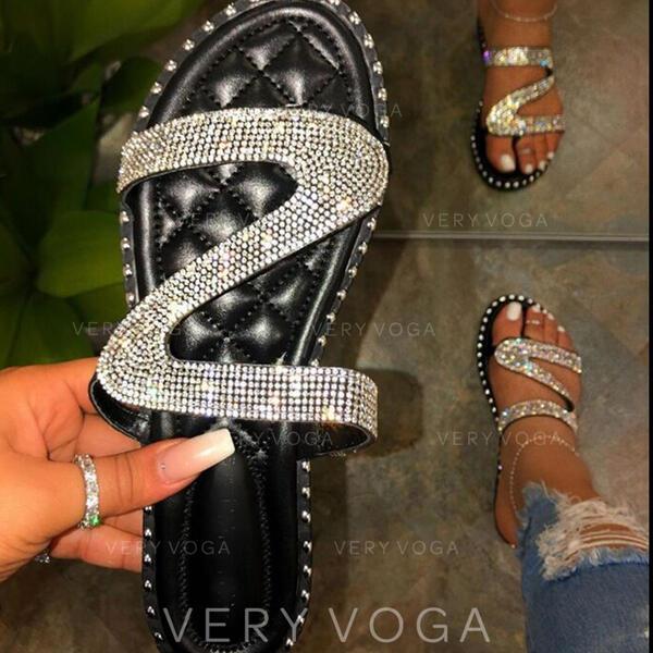Mulheres PU Sem salto Sandálias Sem salto Peep toe Chinelos com Strass Espumante Glitter sapatos