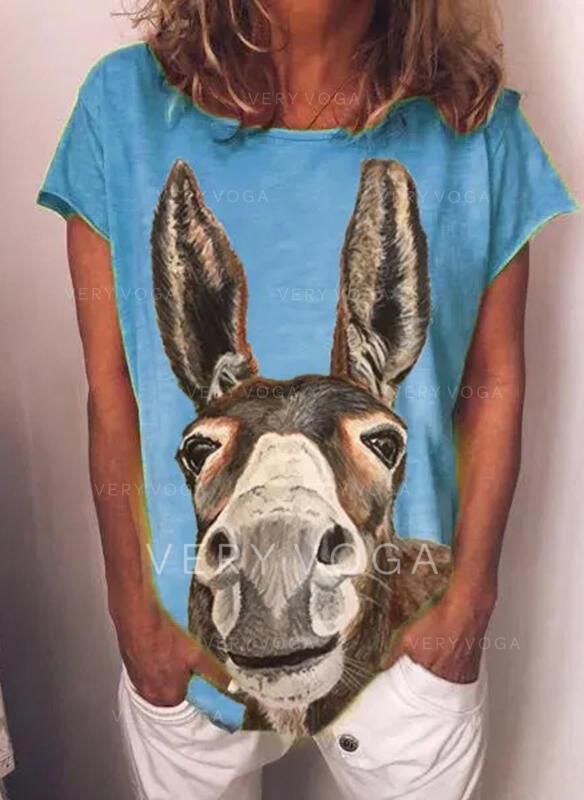 Eläinprintti pyöreä kaula-aukko Lyhyet hihat Rento T-paidat