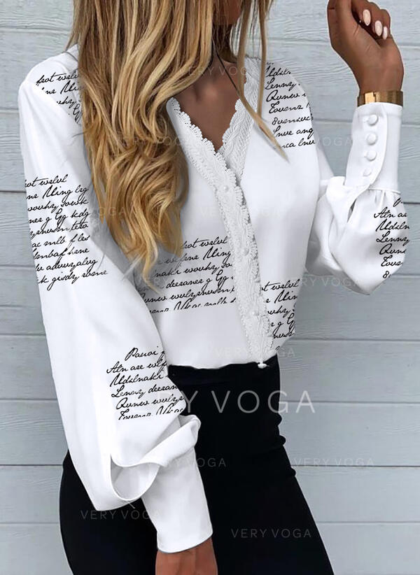 Print Figure Long Sleeves Casual Blouses