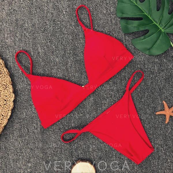 Einfarbig Träger Sexy Bikinis Bademode