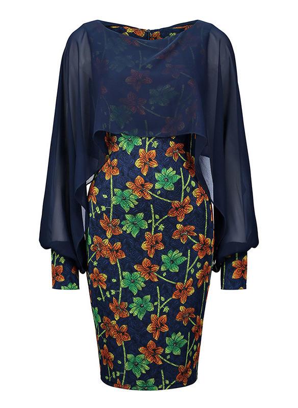 Imprimée/Fleurie Manches Fendues Moulante Longueur Genou Vintage/Élégante Robes