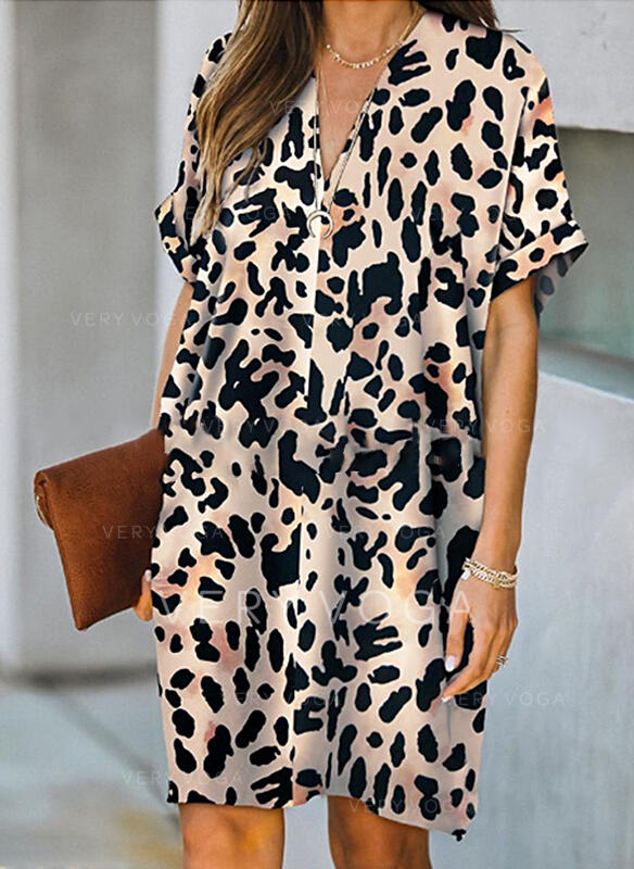 Leopard Short Sleeves Shift Knee Length Casual Tunic Dresses