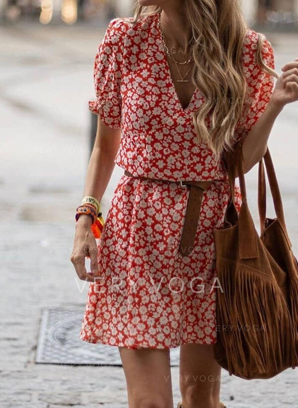 Print/Floral Short Sleeves/Puff Sleeves A-line Above Knee Casual Skater Dresses