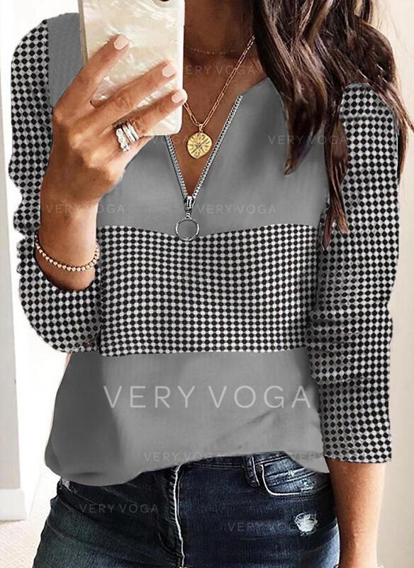 Polkadot V-hals Lange ermer T-skjorter