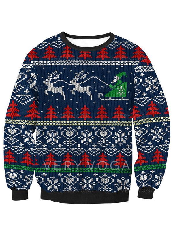 Unisex Polyester Tisk Soby Vánoční mikina (1032253185) - Dovolená ... f8dcd0eddd