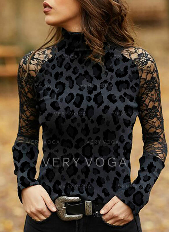 Print Lace Stand collar Long Sleeves Casual Elegant Blouses