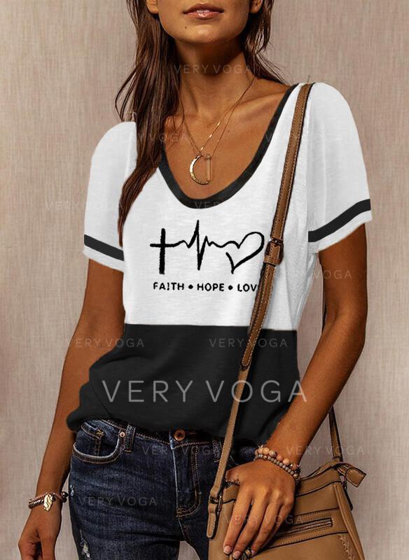 Blok Koloru Serce Nadruk Wytłaczany Okrągły dekolt Krótkie rękawy T-shirty