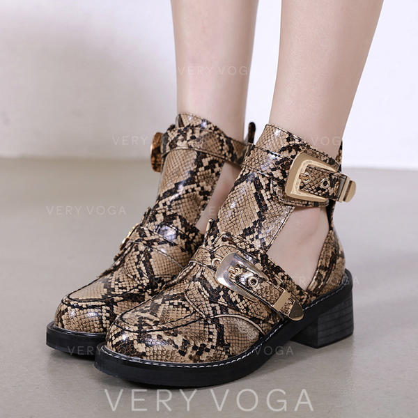 Women's PU Chunky Heel Boots Ankle Boots With Buckle shoes