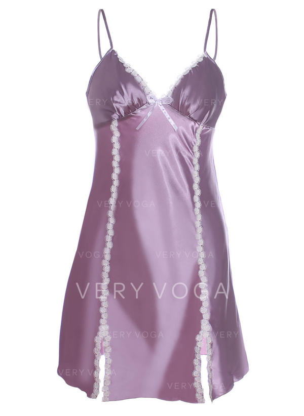 Polyester Dentelle Couleur unie Nuisette