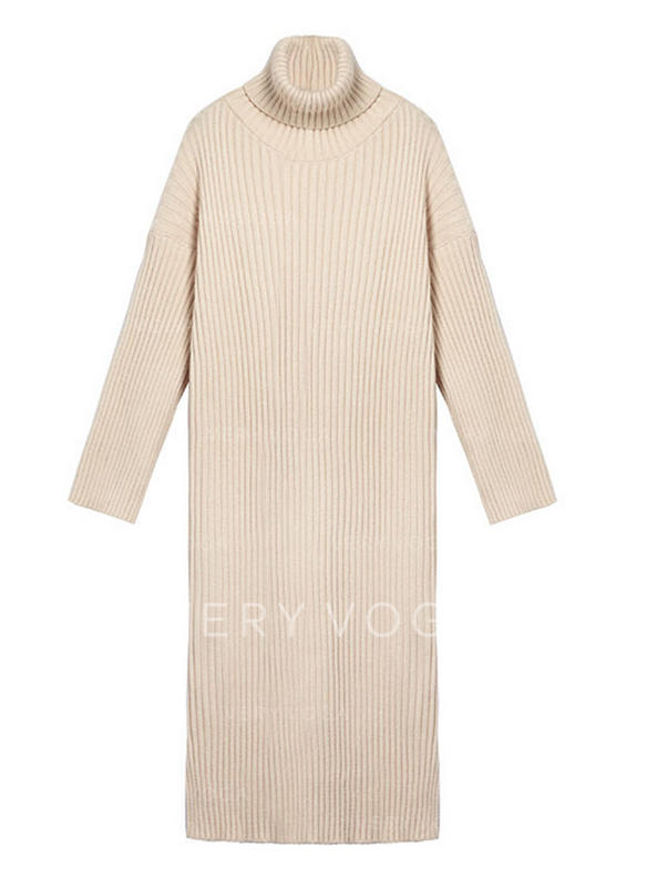 Solid Long Sleeves Shift Casual Midi Dresses