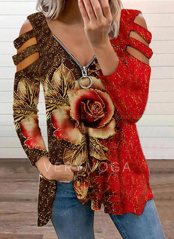 Renkli klişe Floral Imprimeu Soğuk omuz Mâneci Lungi Tişörtler