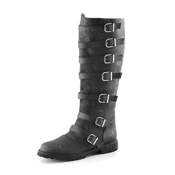 Vrouwen Kunstleer Low Heel Laarzen met Gesp schoenen
