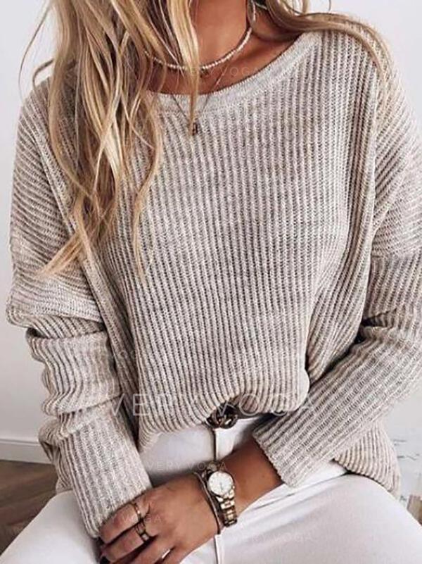 Sólido Acanalado Cuello Redondo Casual Suéteres