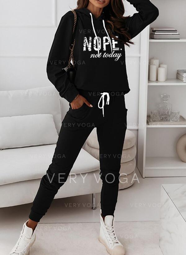 buzunare Písmena Tisk Casual Plus mărimea sweatshirts & Ținute din două piese Set ()