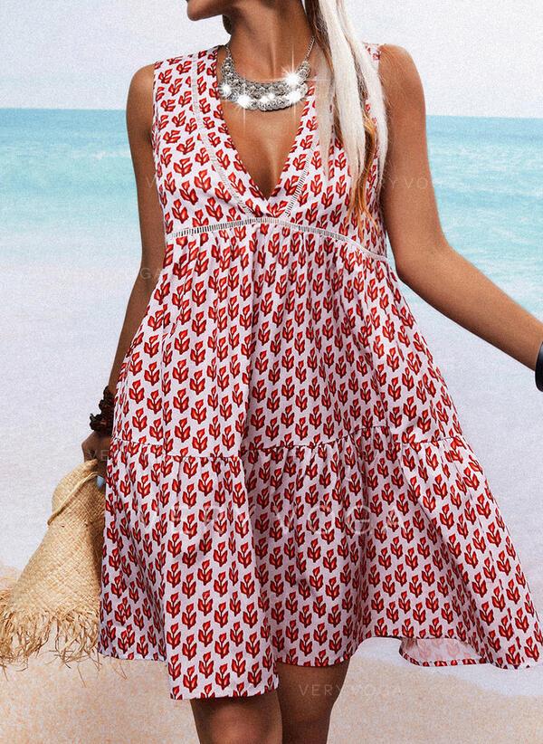 Impresión Sin mangas Tendencia Sobre la Rodilla Casual Vestidos