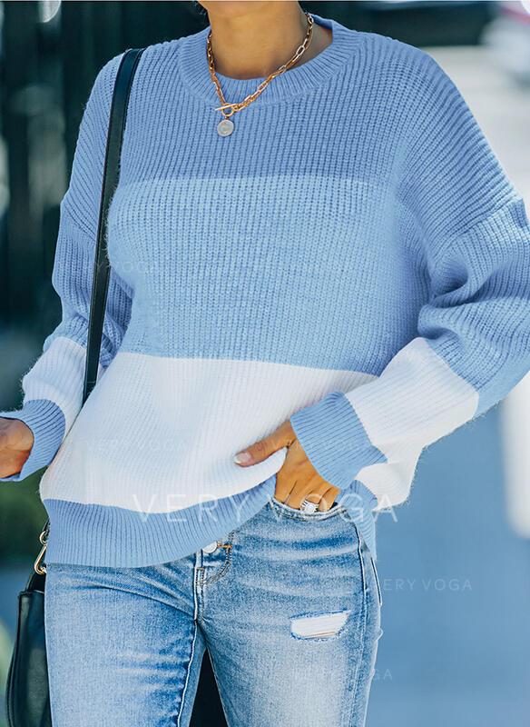 Trozos de color Cuello Redondo Casual Suéteres