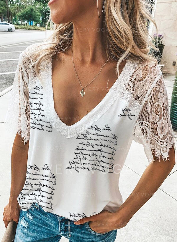 Print Lace V-Neck Short Sleeves Casual Sexy Blouses (1003309660)
