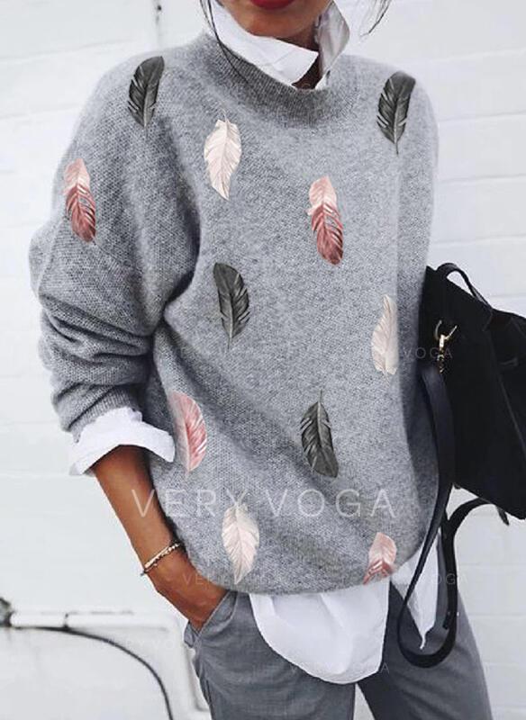 Impresión Pluma Cuello Redondo Casual Suéteres