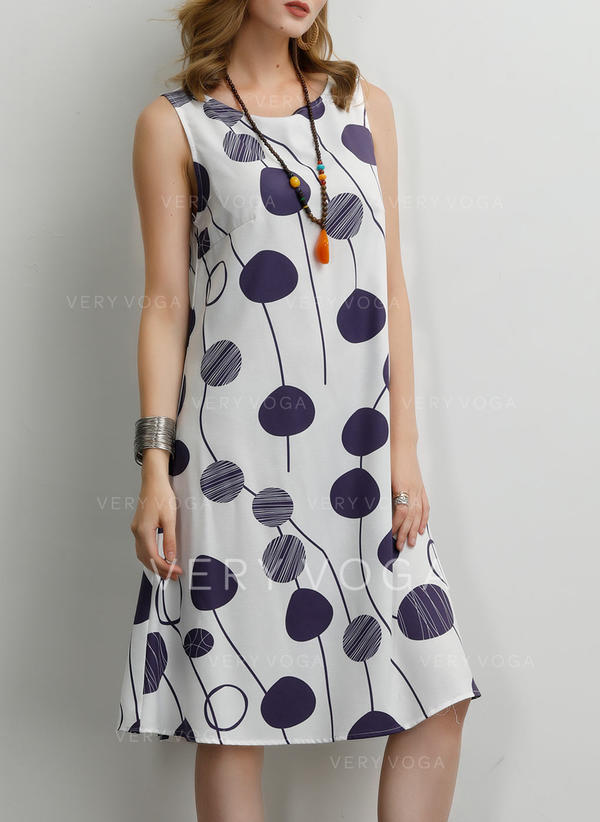 Print Sleeveless Shift Knee Length Casual/Boho/Vacation Dresses