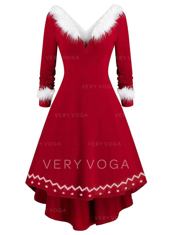 Imprimée Manches Longues Trapèze Longueur Genou Noël/Fête Patineuse Robes