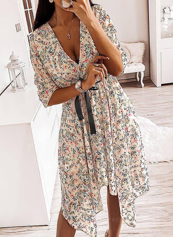 Estampado/Floral Manga Comprida Evasê Assimétrico Casual Vestidos