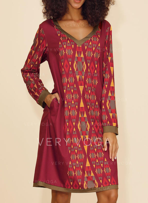 Print Long Sleeves Shift Knee Length Christmas/Casual/Boho/Vacation Dresses