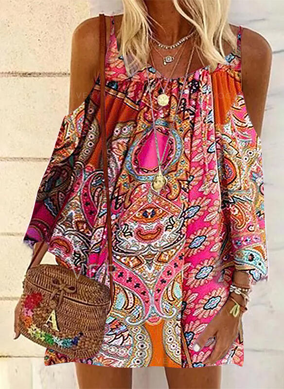 Print Long Sleeves Shift Above Knee Casual/Vacation Tunic Dresses