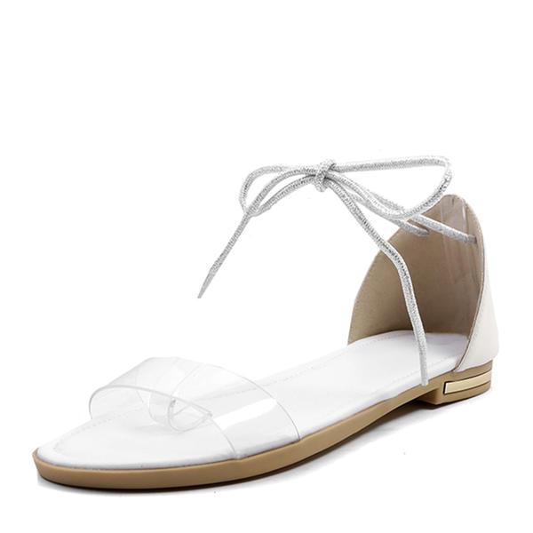 7f99dbbc9ef68 [€ 24.14] Frauen PVC Flascher Absatz Sandalen Flache Schuhe Peep Toe mit  Zuschnüren Schuhe - VeryVoga