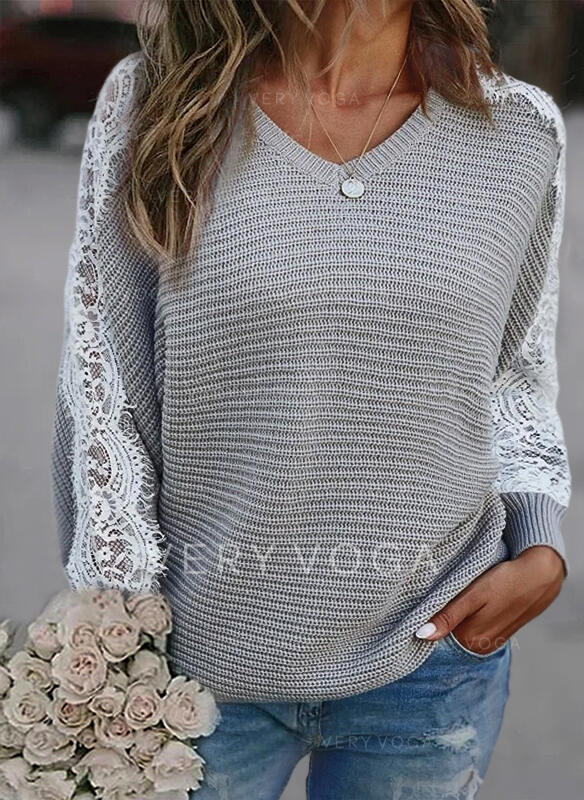 Lace V-Neck Long Sleeves Casual Knit Blouses