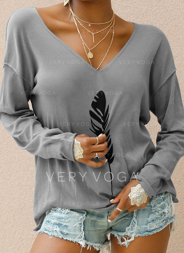 Print V-Neck Long Sleeves Casual Knit T-shirts