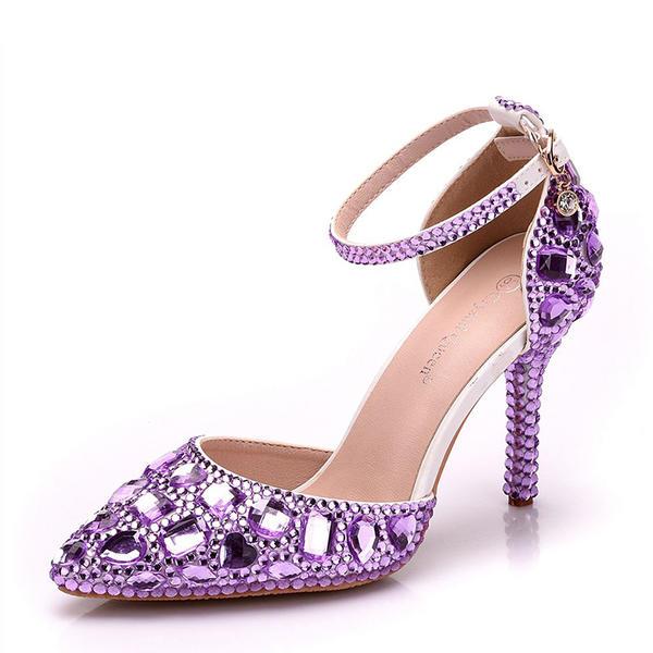 07766648cd Women's Leatherette Stiletto Heel Closed Toe Pumps With Rhinestone ...