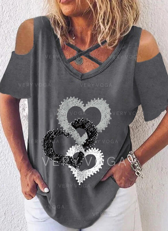Print Heart Cold Shoulder Short Sleeves Casual Blouses
